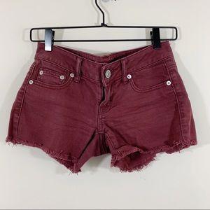American Eagle Burgundy Denim Cut Off Shorts
